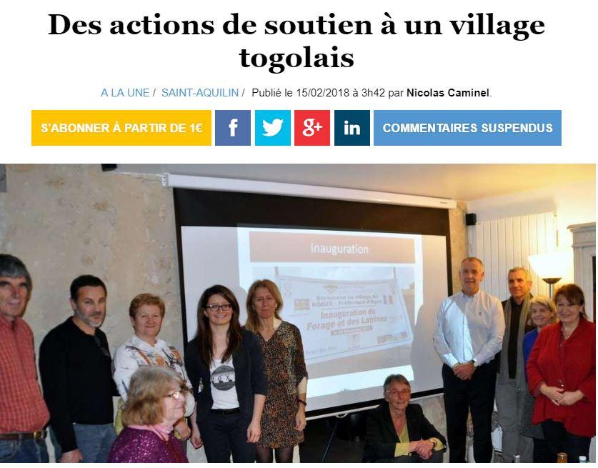 15/02/2018 - Ouest France - Des actions de soutien à un village togolais
