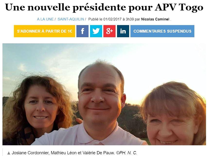 01/02/2017 - Ouest France - Une nouvelle présidente pour APV Togo
