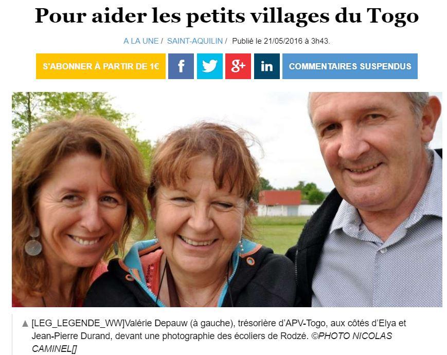 21/05/2016 - Ouest France - Pour aider les petits villages du Togo
