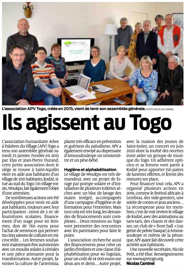 Ils agissent au togo - Article Ouest France